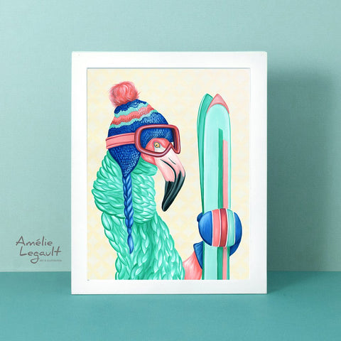flamingo art, flamingo love, flamingo illustration, amelie legault, ski art, ski illustration, art print, flamingo skiing