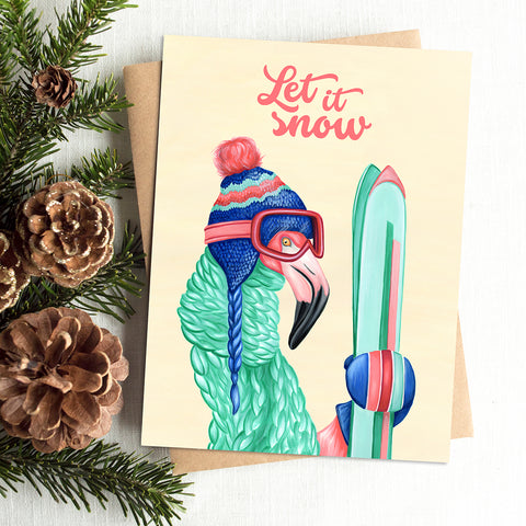 let it snow, holiday card, merry christmas card, skier, pink flamingo, amelie legault