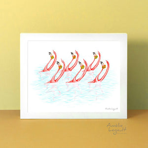 Pink flamingos, synchronized swimming, art Print, gouache painting, flamingo art, flamingo love, flamingo decor, flamingo illustration, amelie legault