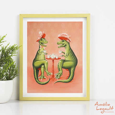 T-Rex drinking tea, Tea-Rex, tea time, painting, print