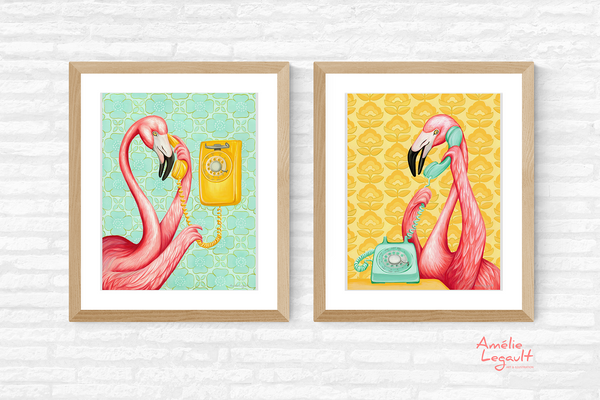 Pink flamingos, on the phone, art print set, gouache painting, amelie legault, flamingo art, flamingo love, flamingo decor, flamingo illustrations, vintage phone, retro phone