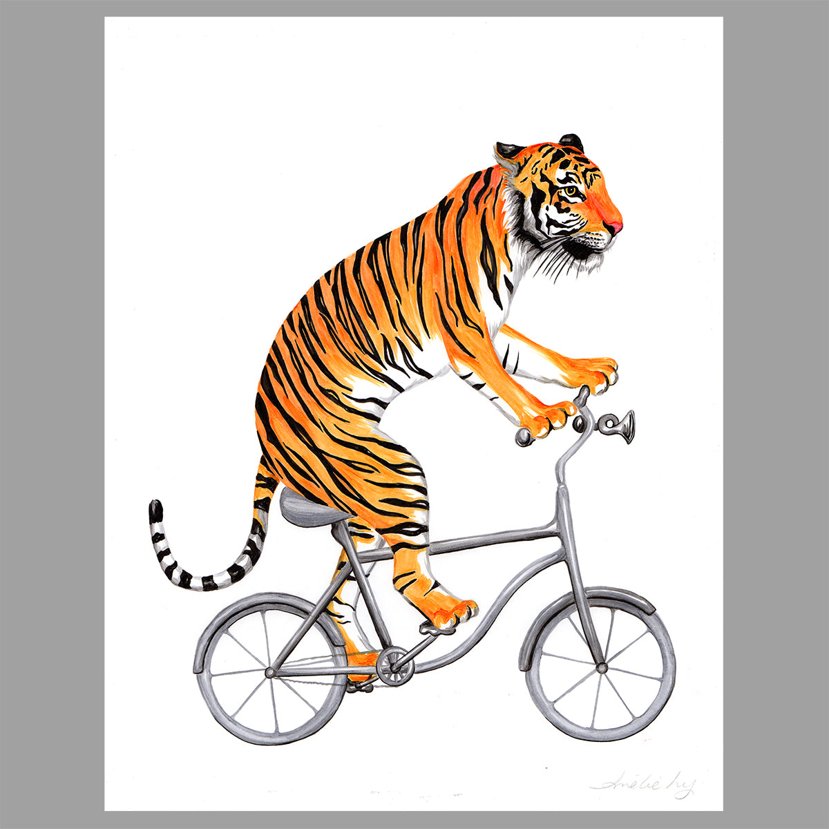 Tiger illustration, original artwork, amelie legault, bike