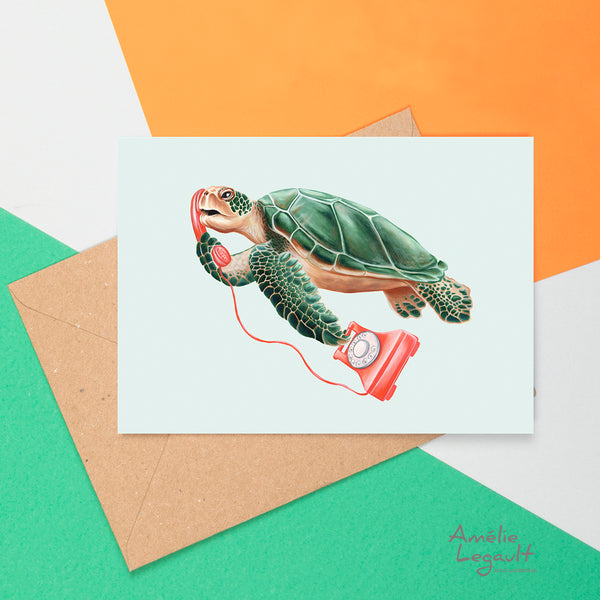 Turtle on the phone, i love you card, Amelie legault, greeting card, birthday card, vintage phone