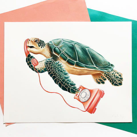 Original Gouache Painting - Turtle on the phone