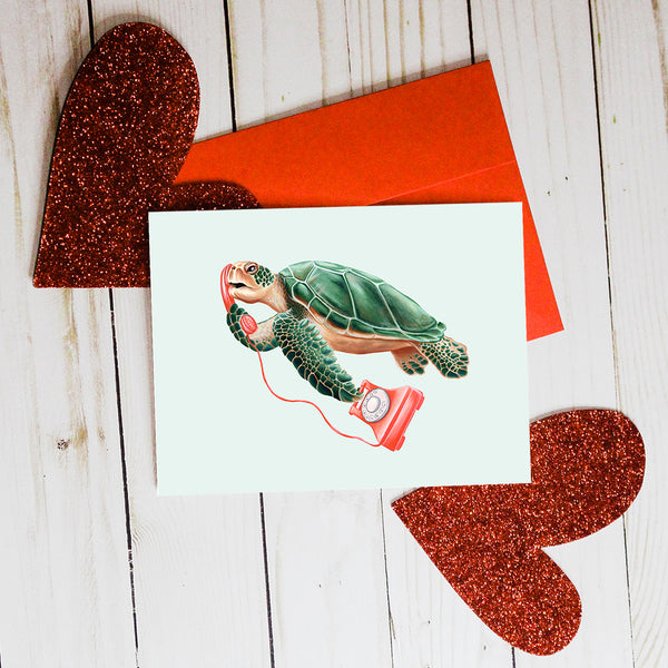 Turtle on the phone, i love you card, valentinesday card, Amelie legault, greeting card, birthday card, vintage phone