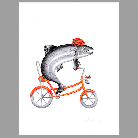 Trout on a bike - Amelie Legault - Original Artwork
