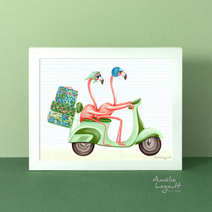 Pink flamingos on a scooter, vespa, art Print, gouache Painting, Home decor, flamingo art, flamingo love, flamingo decor, flamingo illustration, amelie legault