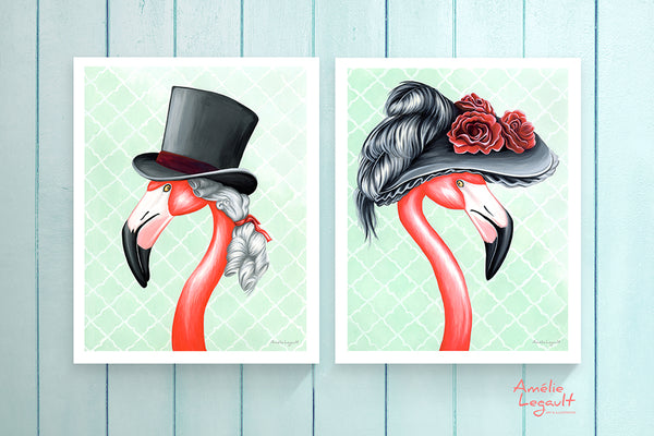 Victorian Pink Flamingos, prints (set of two)