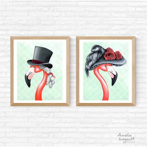 flamingo art, flamingo love, flamingo decor, flamingo illustration, amelie legault,