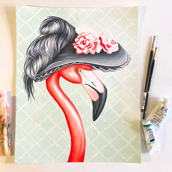 flamingo art, flamingo decor, flamingo painting, gouache, amelie legault, art work, art studio, sutio life, victorian style, victorian hat