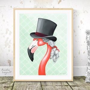 Victorian Pink Flamingo, male, Print