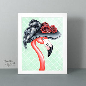 Victorian, pink flamingo, flamingo art, flamingo love, flamingo decor, flamingo illustration, amelie legault, victorian decor, victorian art
