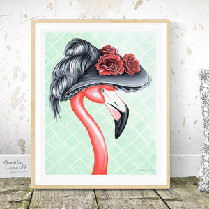 Victorian Pink Flamingo, female, Print