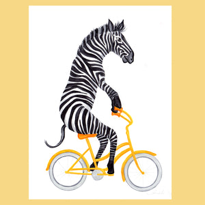 Zebra on a bike - Original Artwork, Amelie Legault