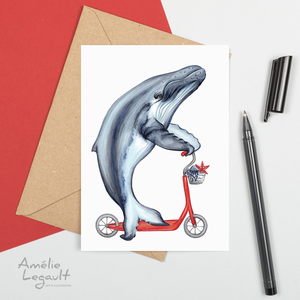 Whale on scooter, card