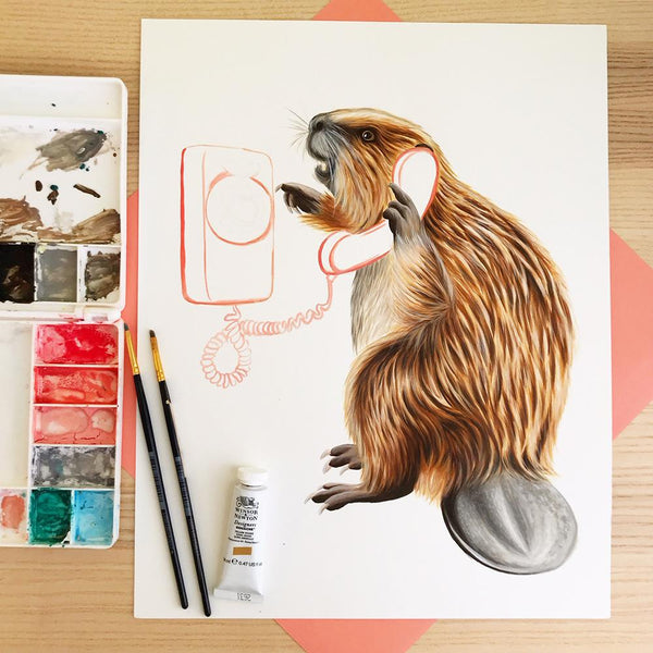 beaver painting, beaver artwork, beaver illustration, gouache painting, amelie legault, canadian animal, canadian artist, canadian art, winsorandnewton