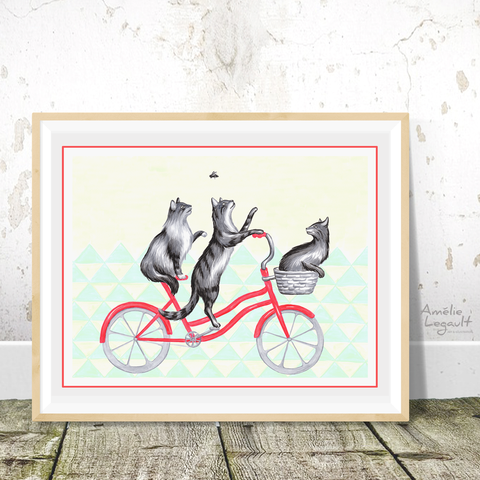 Cats on bike Print, Drawing, Home Decor