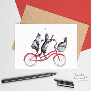 Carte de chat, cat card, cat birthday card, carte d'anniversaire, amélie legault, cat birthday card, cat riding a bike, chat à vélo