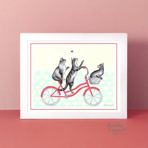 Cats illustration, cat print, cat drawing, cats on a bike, amelie legault, bicycle art print, bicycle love, cat lover