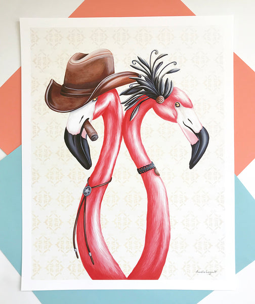 illustration de flamant rose, affiche de flamants roses, amelie legault, cowboy, cowgirl, saloon girl