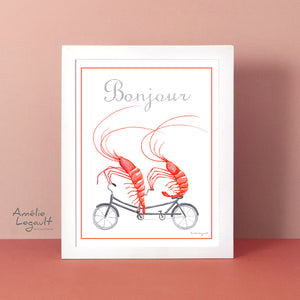 Shrimps on a tandem bicycle, art Print, shrimp Drawing, shrimp artwork, shrimp illustration, kitchen decor, kitchen art, amélie legault
