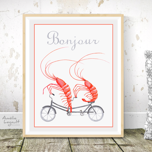Shrimps on tandem bicycle, Print, Drawing