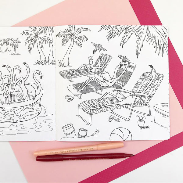 coloring book, colouring book, flamingo, amelie legault, coloring for adults, coloring for kids, flamingo illustration, flamingo at the beach