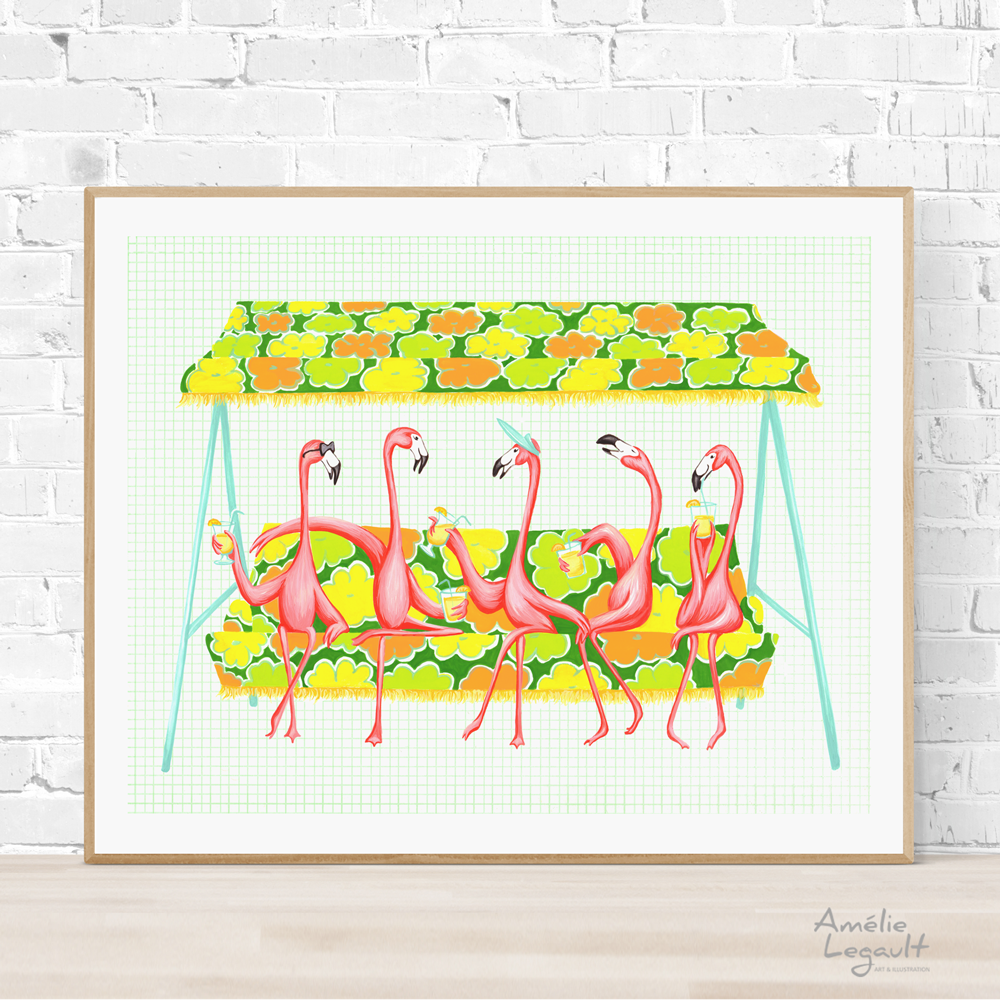 Pink Flamingo garden party, print, painting, home decor