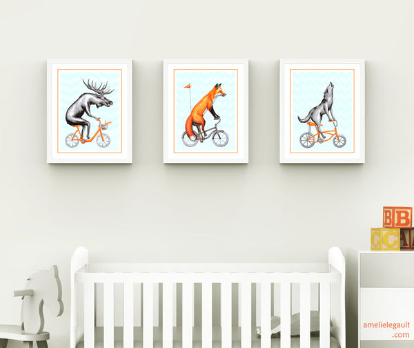Moose, fox and wolfe on their bikes, art print set, nursery decor, amelie legault, forest animal art work, illustration, drawing