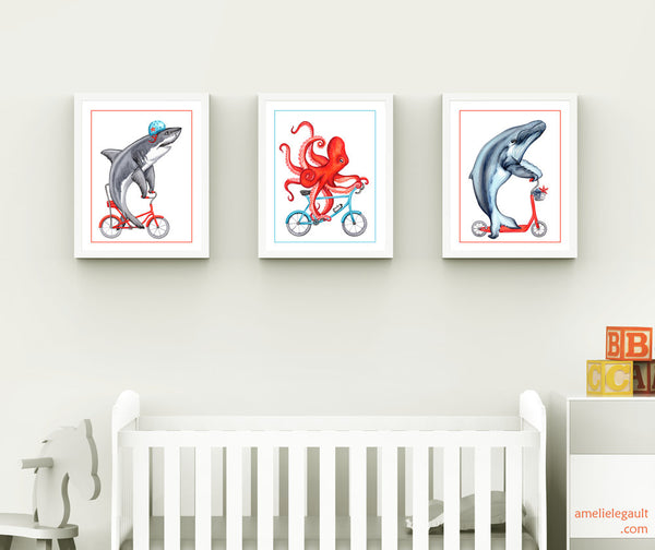Ensemble d'affiches d'animaux à vélo, requin, baleine et pieuvre, amelie legault, set of sea animals on bicycle: shark, whale and octopus