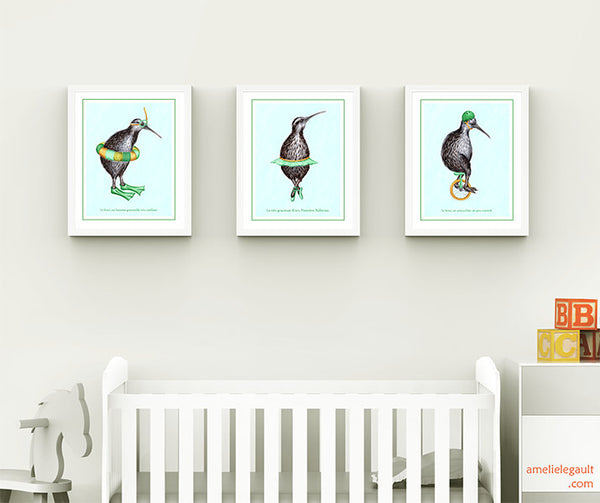Kiwi bird prints set, kiwi illustration, new zealand, snorkel, ballet, unicycle, amelie legault, sport