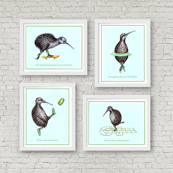 Kiwi bird prints set, Kiwi bird, kiwi illustration, kiwi art, art print, amelie legault, kiwi love, new zealand