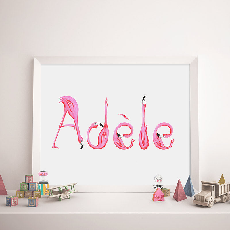 Customized name, Pink flamingo letters, flamingo art, flamingo love, flamingo decor, amelie legault