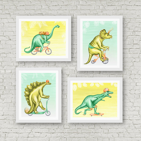 Dinosaurs on bikes, Print, Drawing