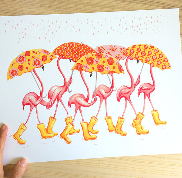 Flamants roses aux parapluies, Affiche, décoration, flamingo art, flamingo love, flamingo decor, flamingo illustration, amelie legault