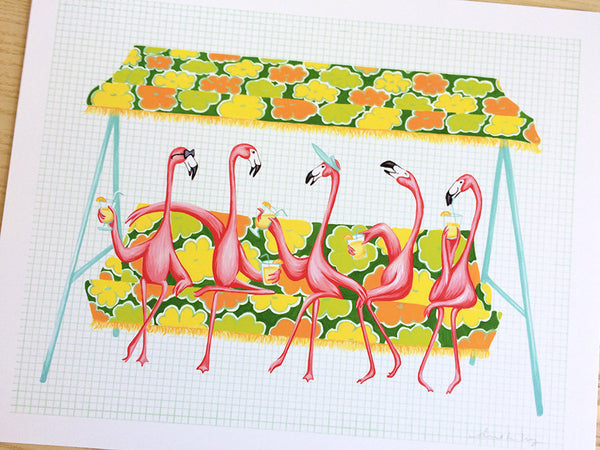 Pink Flamingo on a rocking chair, Print, Painting
