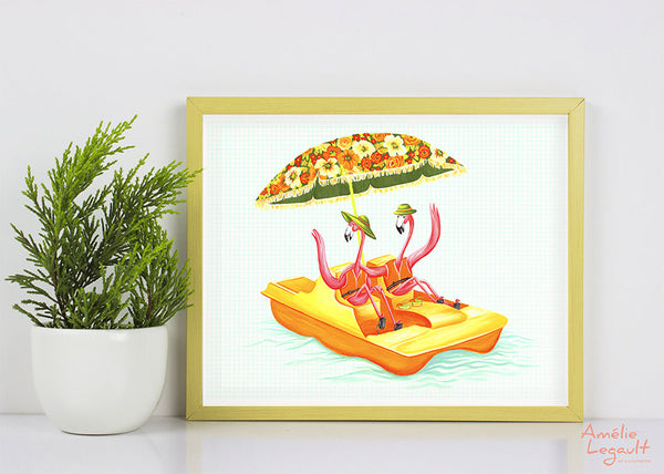 Pink Flamingo, pedal boat, art print, gouache painting, flamingo art, flamingo love, flamingo decor, amelie legault, flamingo illustration
