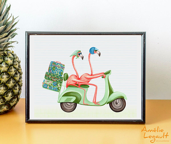 Flamants roses en scooter, vespa, Affiche, Peinture, décoration, amelie legault, illustration de flamants roses, illustration de scooter