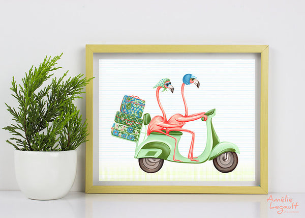 Pink flaming, scooter, vespa, road trip, vintage, print, flamingo art, flamingo love, flamingo decor, flamingo illustration, amelie legault,