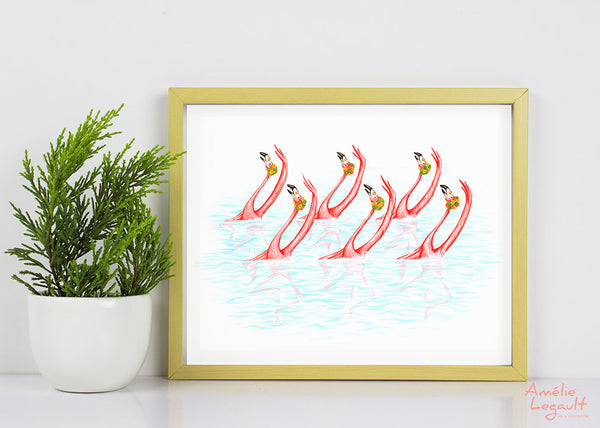 Flamants roses, nage synchronisée, affiche, amelie legault, illustration de flamants roses, décoration de flamant rose