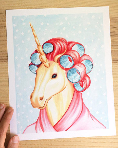 Unicorn with curlers, art print, unicorn painting, amelie legault