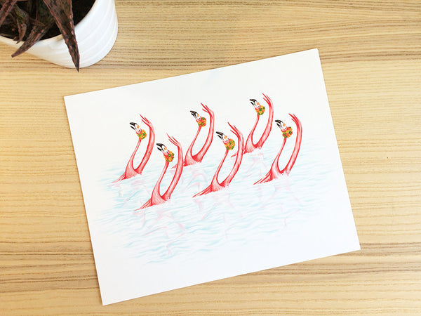 Pink flamingos, synchronized swimming, Print, Painting