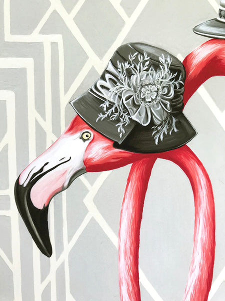 1920S Pink Flamingo print, Great Gatsby style, Painting, Home Decor