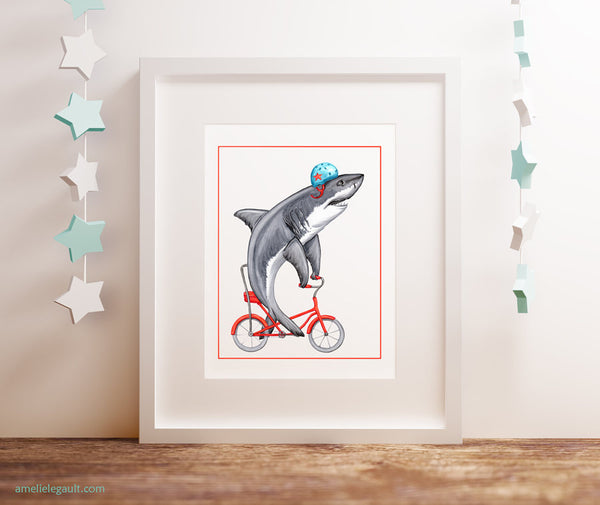 shark week, shark illustration, Shark on a bike, art Print, Drawing, Home decor, amelie legault