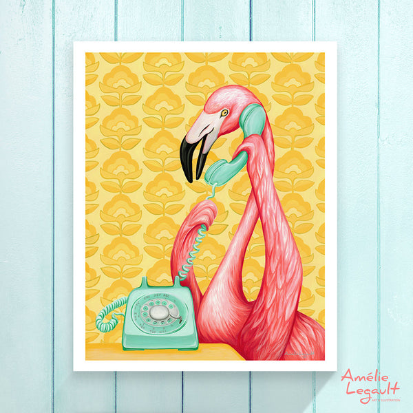Pink flamingo on the phone, Print, Painting, flamingo art, flamingo love, flamingo decor, flamingo illustration, amelie legault,