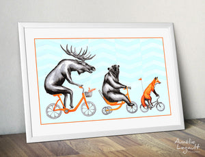 Moose, Bear and Fox Print, Home Decor