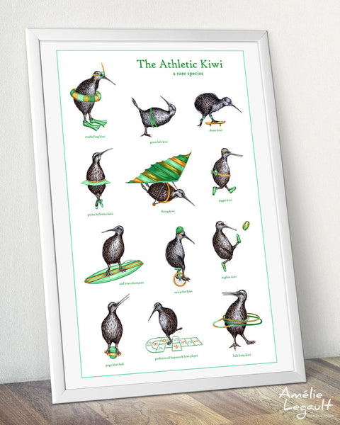 Kiwi bird print, athletic kiwi bird print, amelie legault, kiwi illustration, kiwi decoration, amelie legault, new zealand