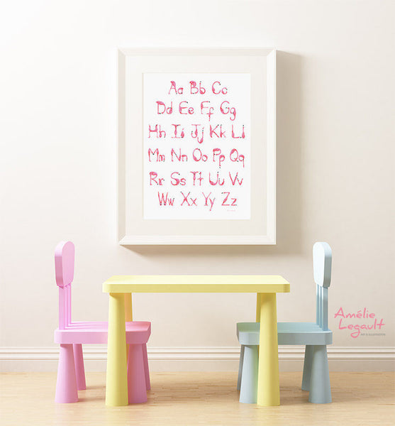 Alphabet de flamants roses, Affiche ABC