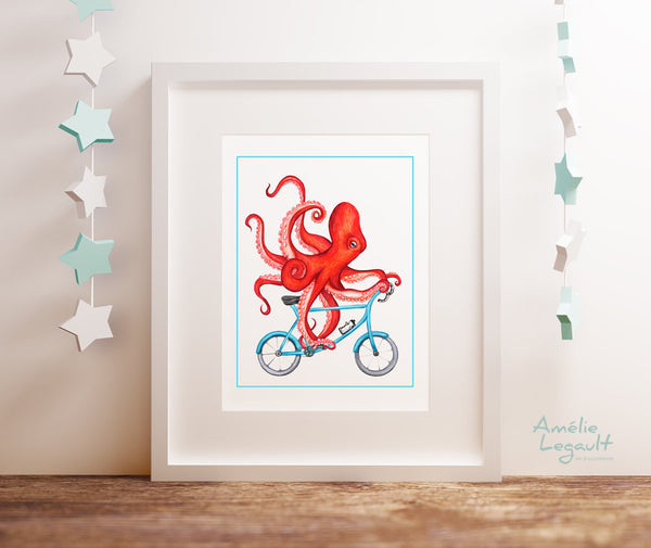 Octopus on a bike, art Print, octopus Drawing, octopus illustration, octopus art work, bicycle drawing, bicycle print, sea animals, amelie legault