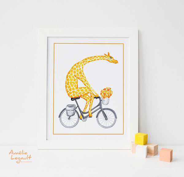 Giraffe on a bike, art Print, amelie legault, giraffe illustration, giraffe drawing, giraffe print, giraffe art work, bicycle print, bicycle drawing